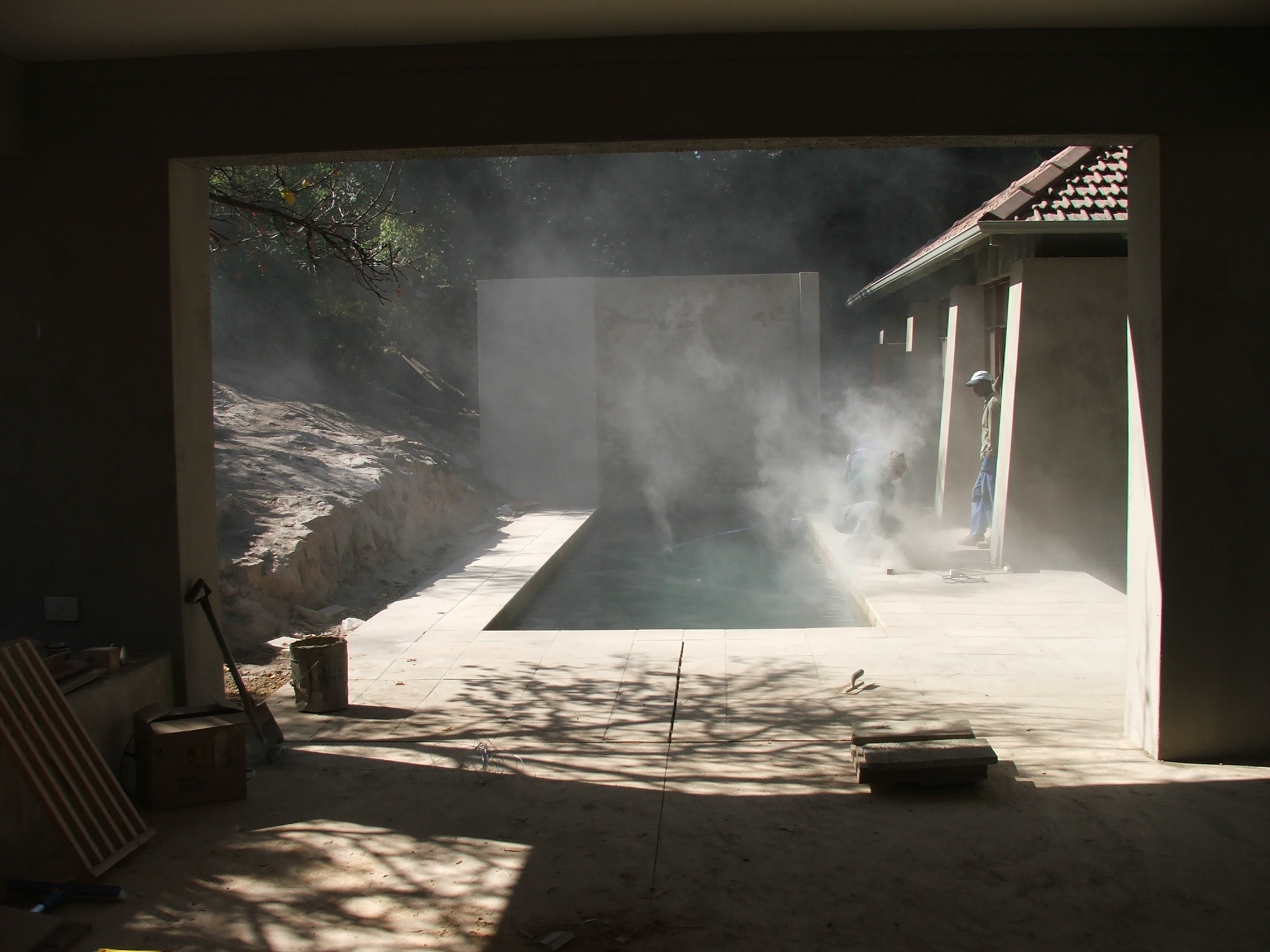 Waterfall - Pool Court Construction