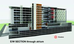 Sasol HQ East West Section trough atrium