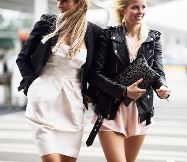leather jacket with silk dresses