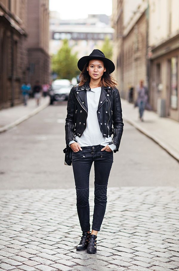 leather jacket with skinny jeans