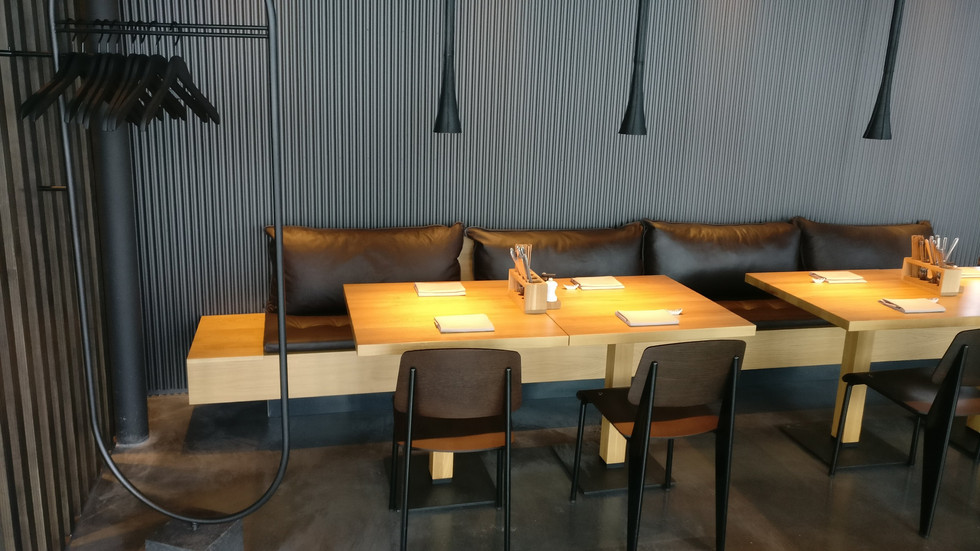 tables and seating at rooftop bar