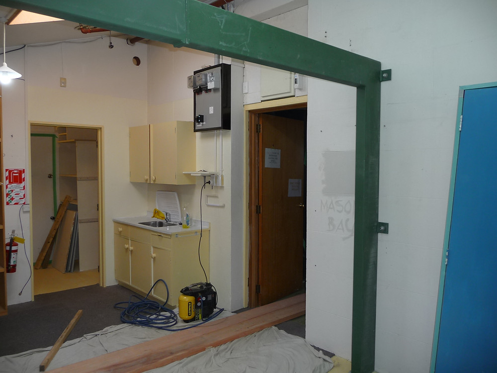 Bracing being fitted in back office
