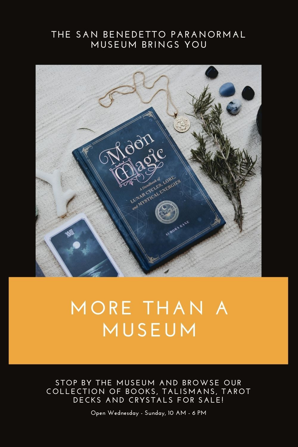 Stop by the museum and browse our collection of books, tarot decks, and more!