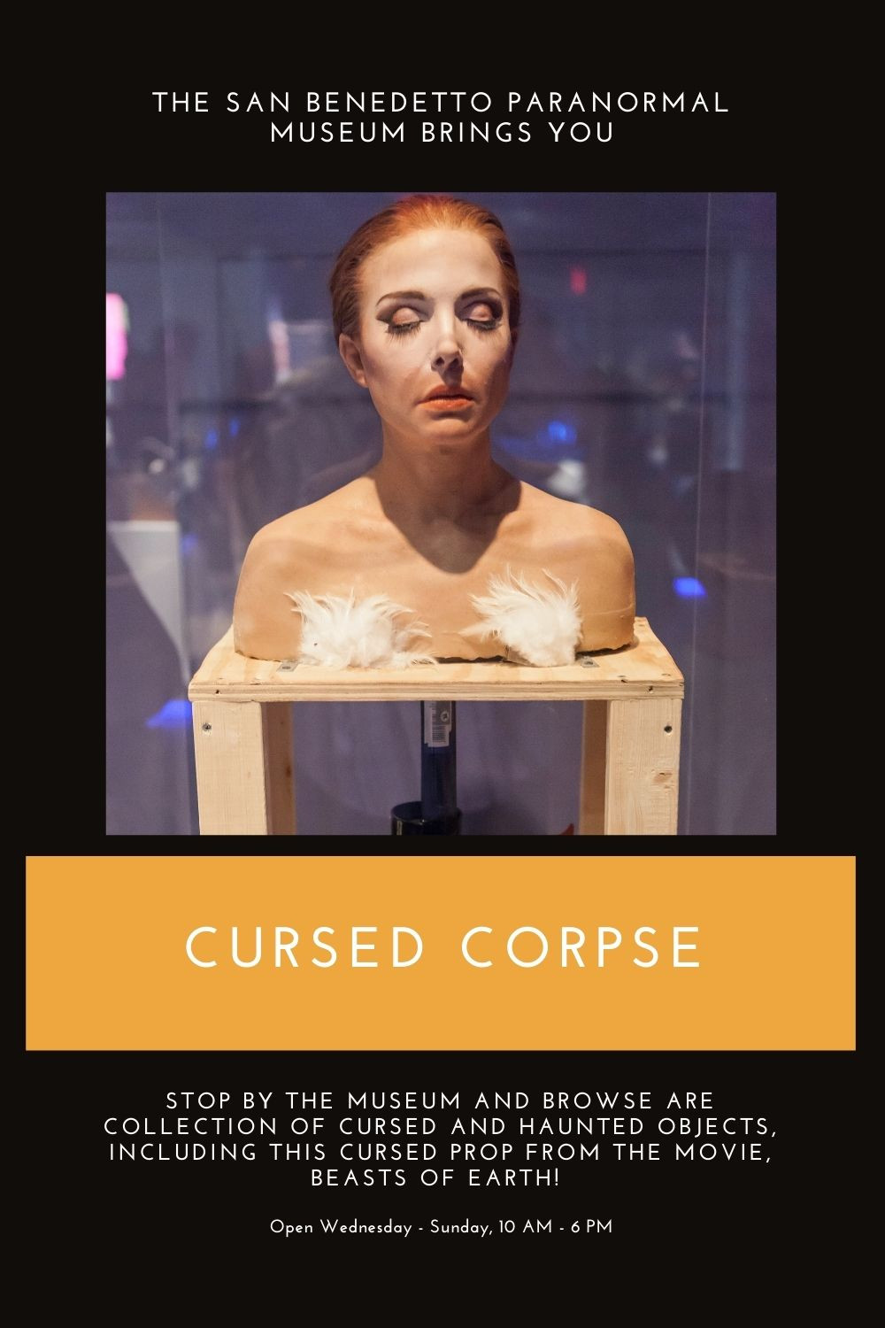 The San Benedetto Paranormal Museum brings you the cursed corpse! STOP BY THE MUSEUM AND BROWSE ARE COLLECTION OF cursed and haunted objects, including this cursed prop from the movie, BEASTS OF EARTH!