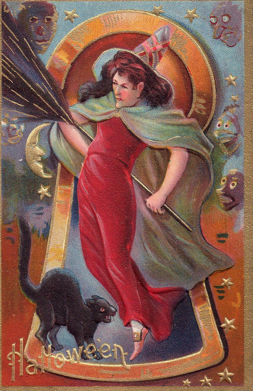 Vintage Witch Postcard