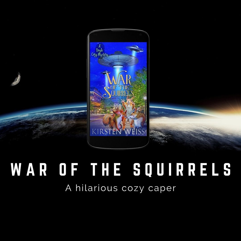 War of the Squirrels cover on a cell phone, floating above an image of Earth from space.