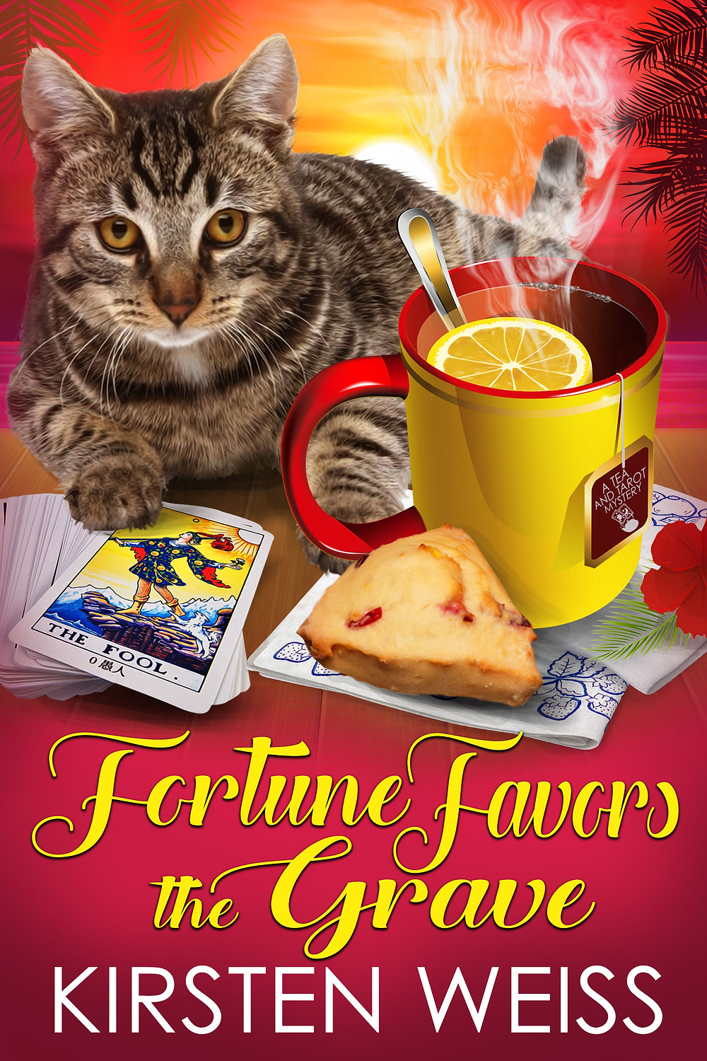 Fortune Favors the Grave cover - tarot cards and cat - a new cozy mystery
