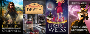 Other book covers - The Metaphysical Detective, Pressed to Death, Down, and Steam and Sensibility