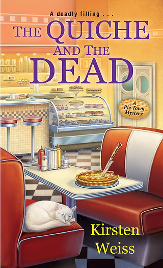 The Quiche and the Dead, a funny cozy mystery from the Pie Town series of mystery novels. Plus pie.
