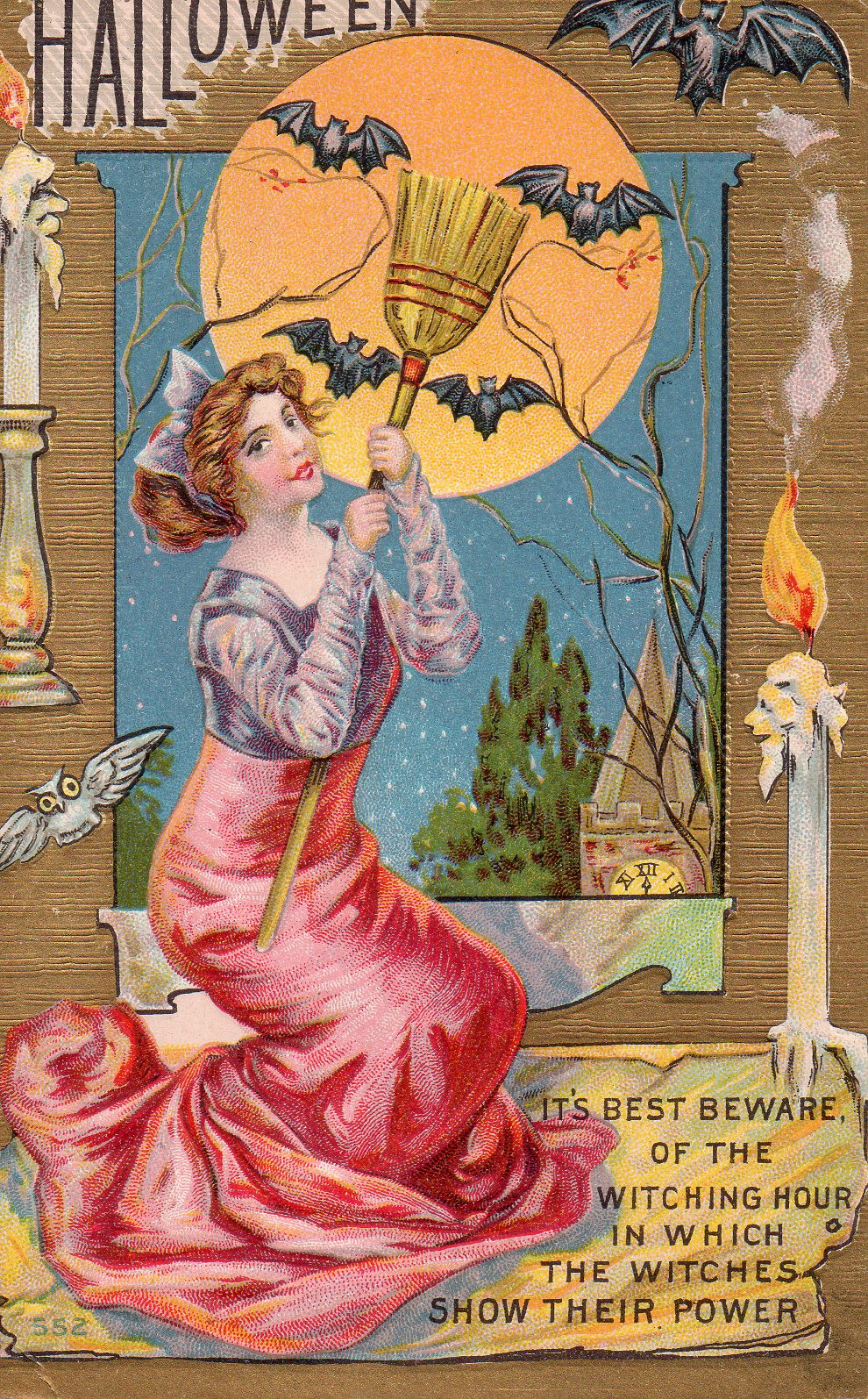 Vintage Postcard - Halloween Witch