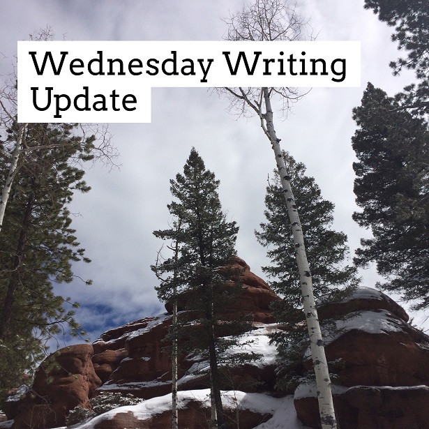 Snow, trees, and Red Rocks - image for my Wednesday Writing Update