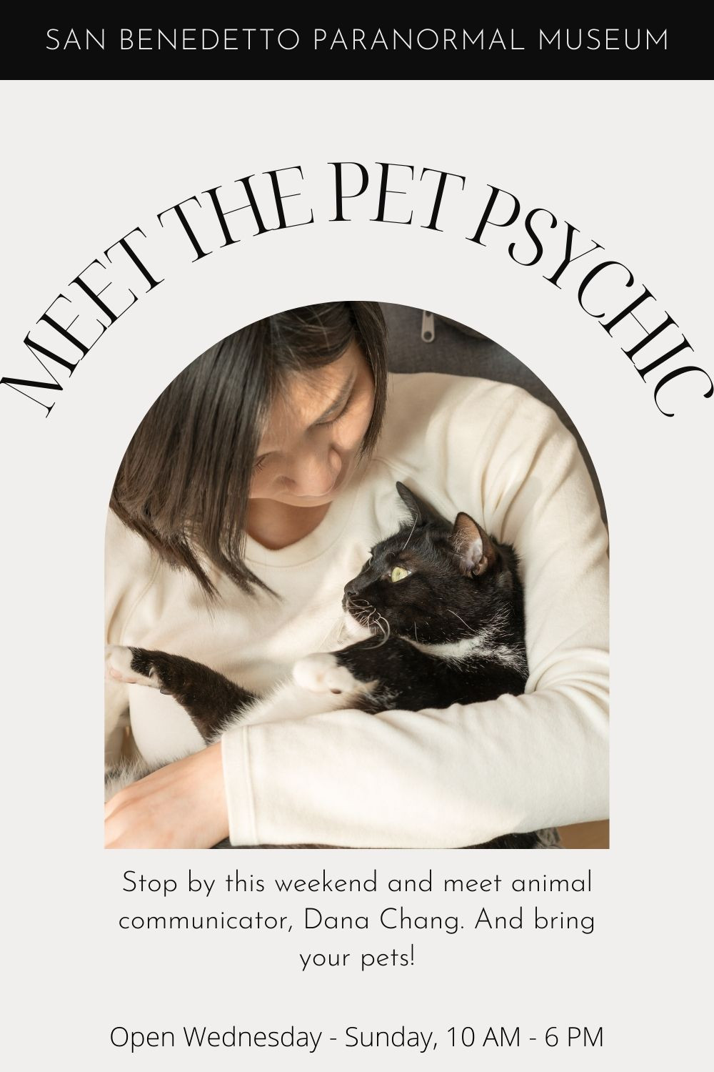 Image of woman with cat. Stop by the San Benedetto Paranormal Museum and meet animal communicator Dana Chang!
