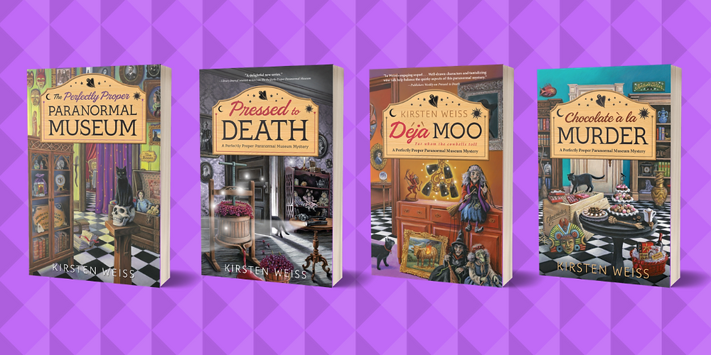 4 books in the Perfectly Proper Paranormal Museum cozy mystery series