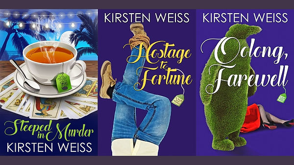 three book covers- Steeped in Murder, Hostage to Fortune, and Oolong, farewell