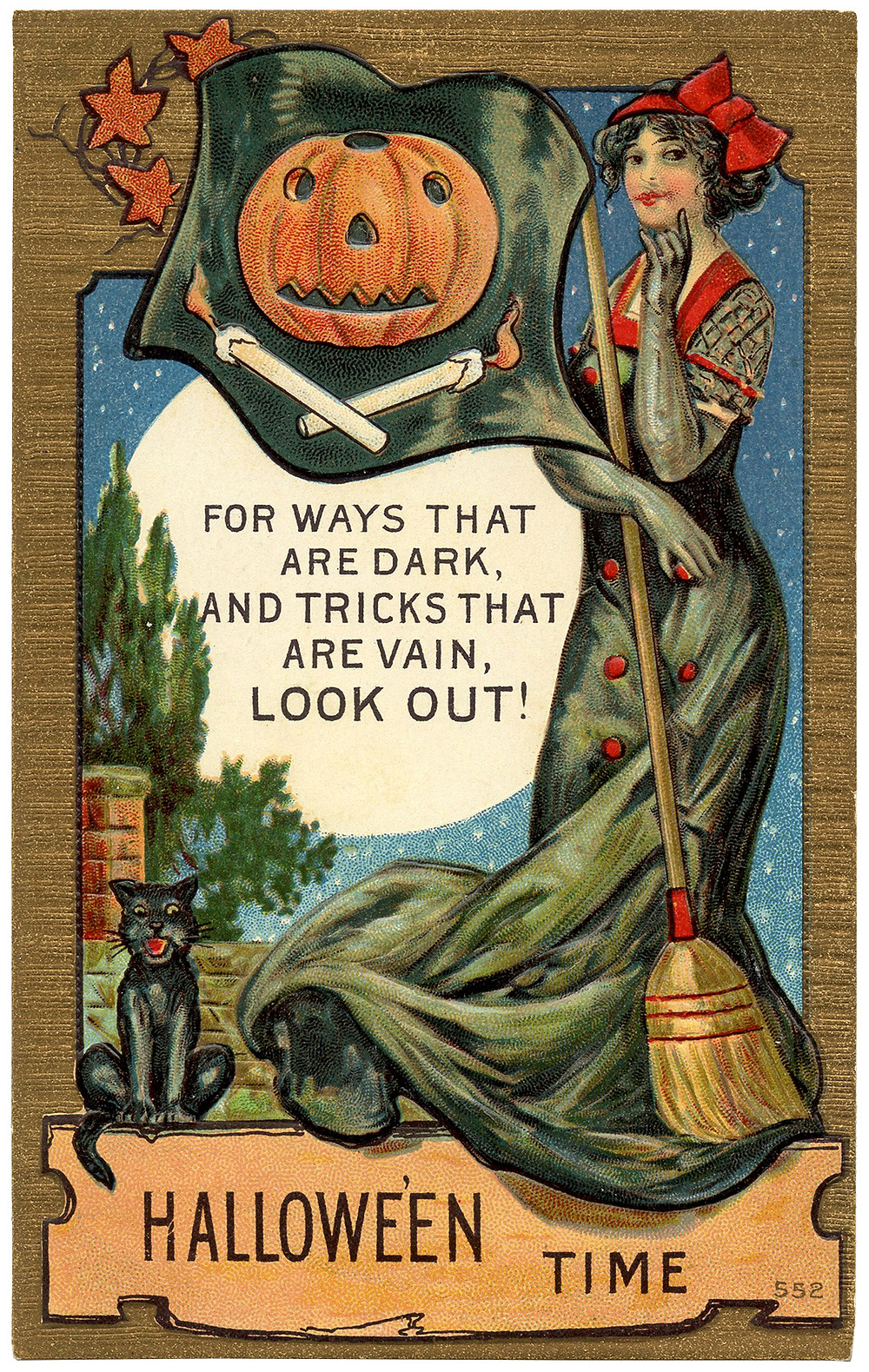 Vintage Halloween Postcard with Witch