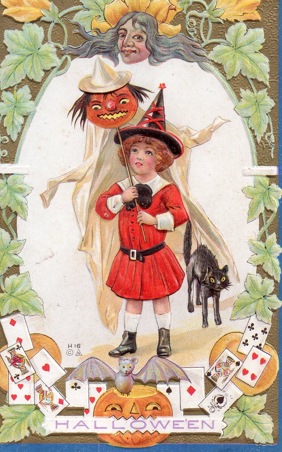 vintage witch halloween cards