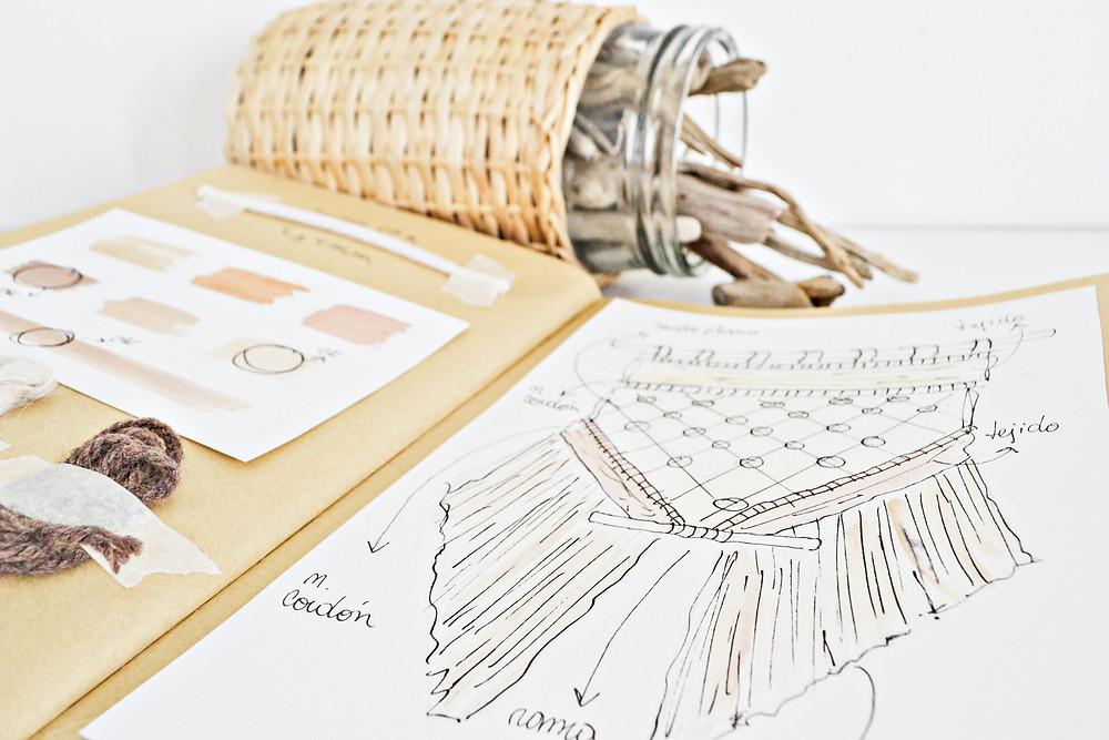 Diseño de telar decorativo y paleta de colores