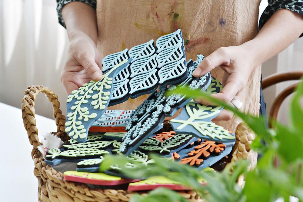 Sellos artesanales estampado textil Sofia Quintana