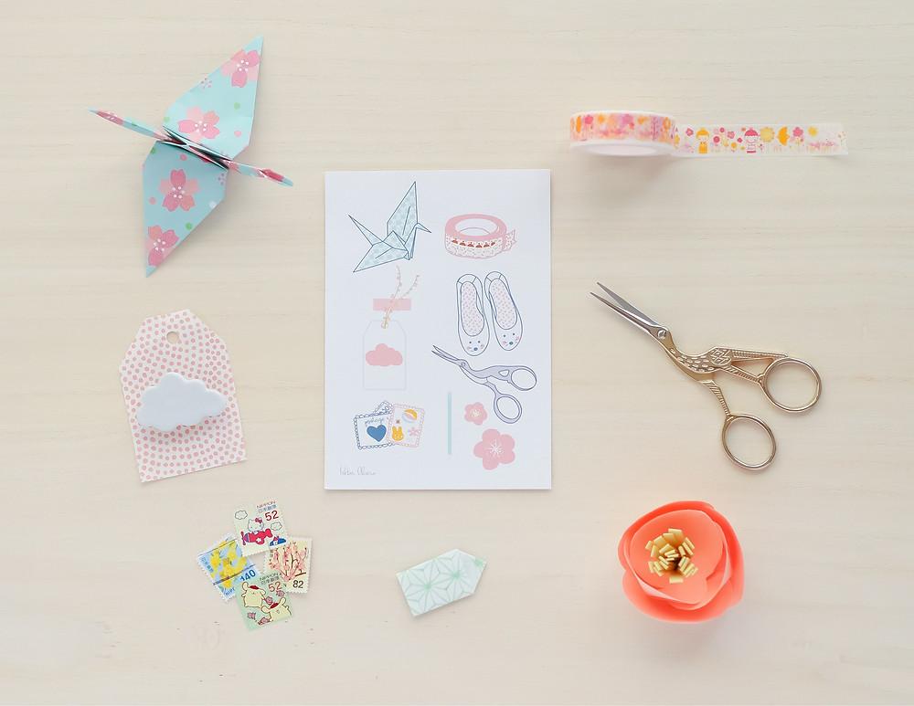 Grulla origami washi tape accesorios japoneses