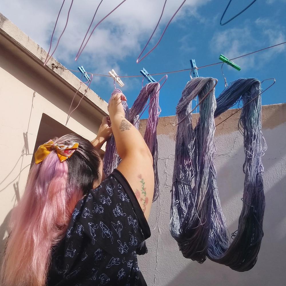 Nashi teñido técnica speckles madejas hilado algodón mujer felix felicis