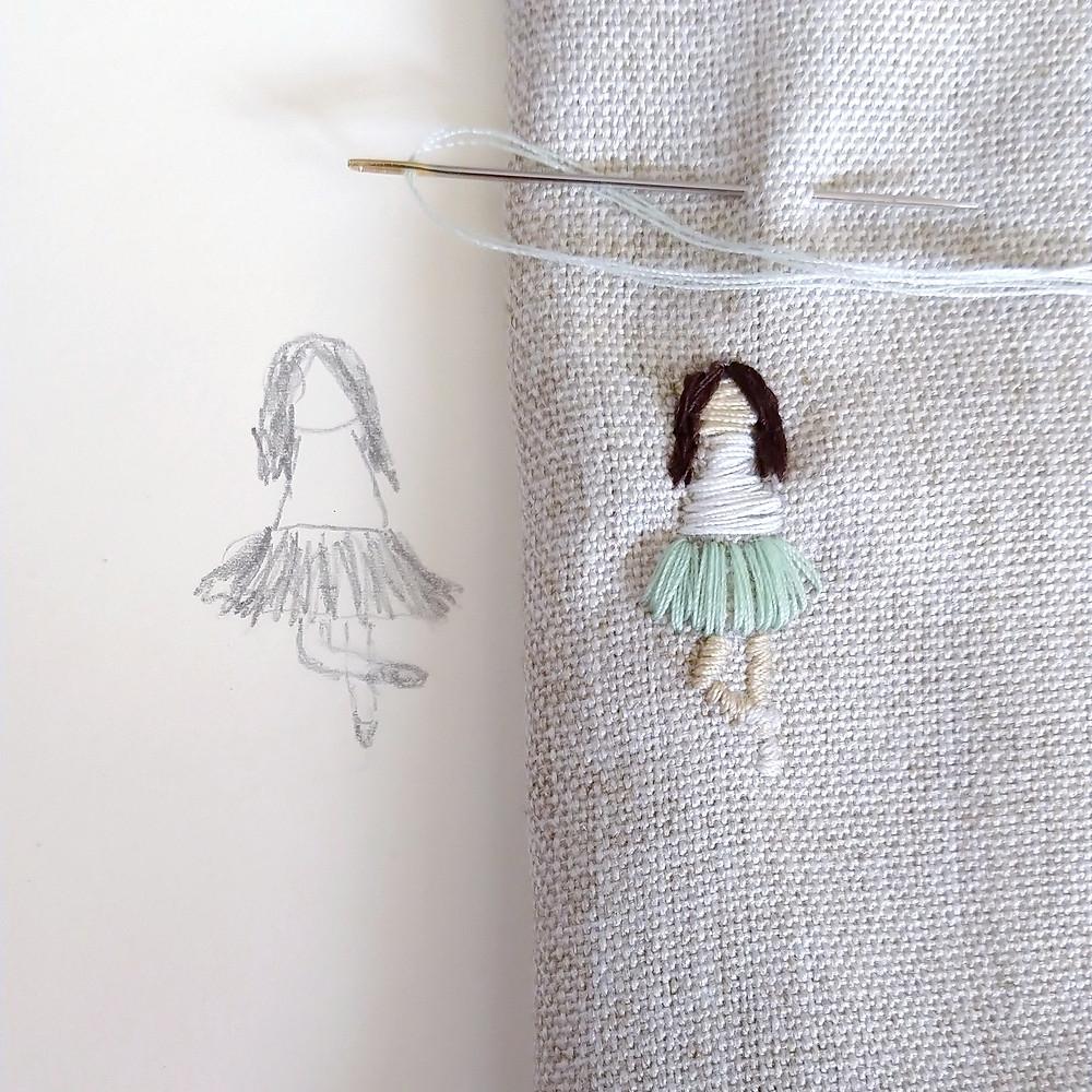 Bordado a mano bailarina boceto tienda rosaura bordado personalizado