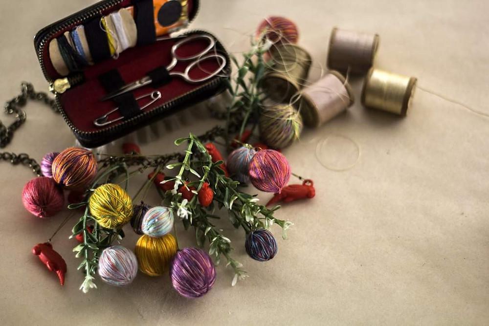 arte textil hilos joyería textil kit costura