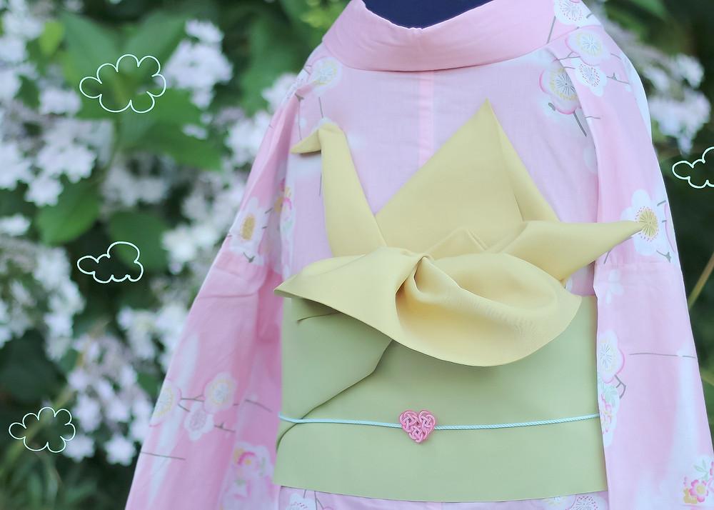 kimono moderno mizuhiki grulla