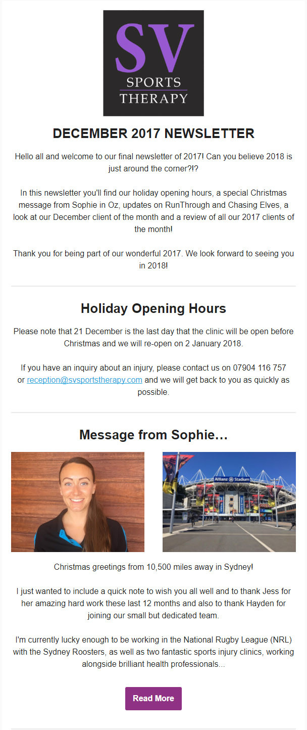 SV Sports Therapy October 2017 Newsletter