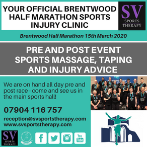 SV to provide sports injury clinic at Brentwood Half