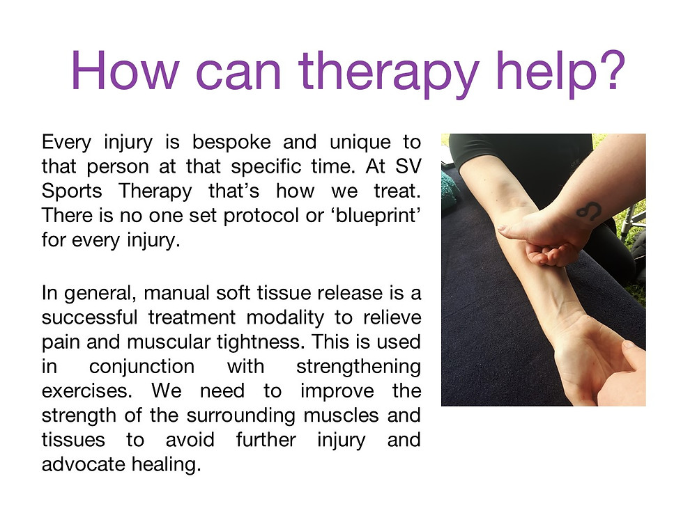 How can sports therapy help with elbow and wrist issues?