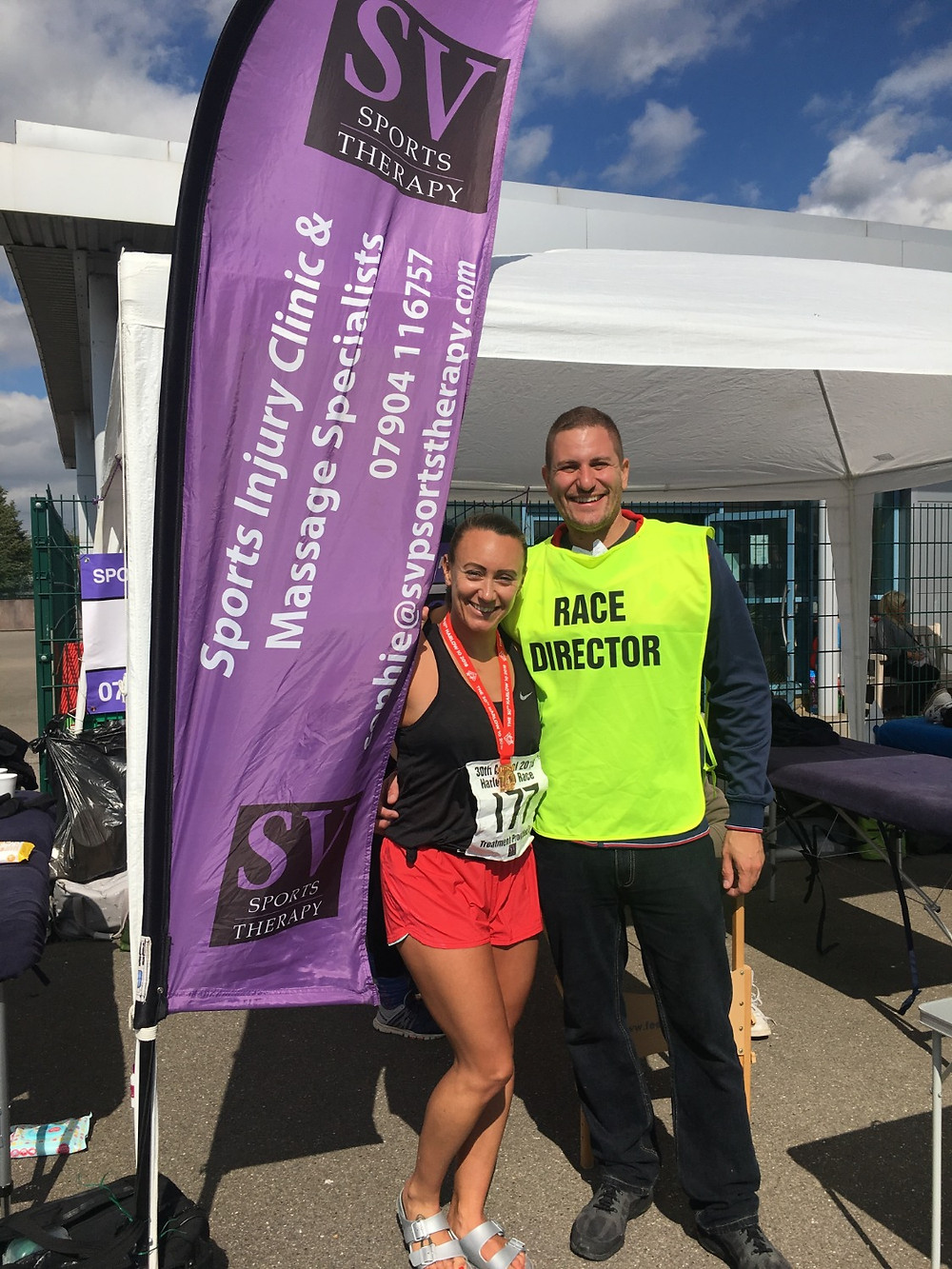 Sophie with Harlow 10 race director Paul Schroder