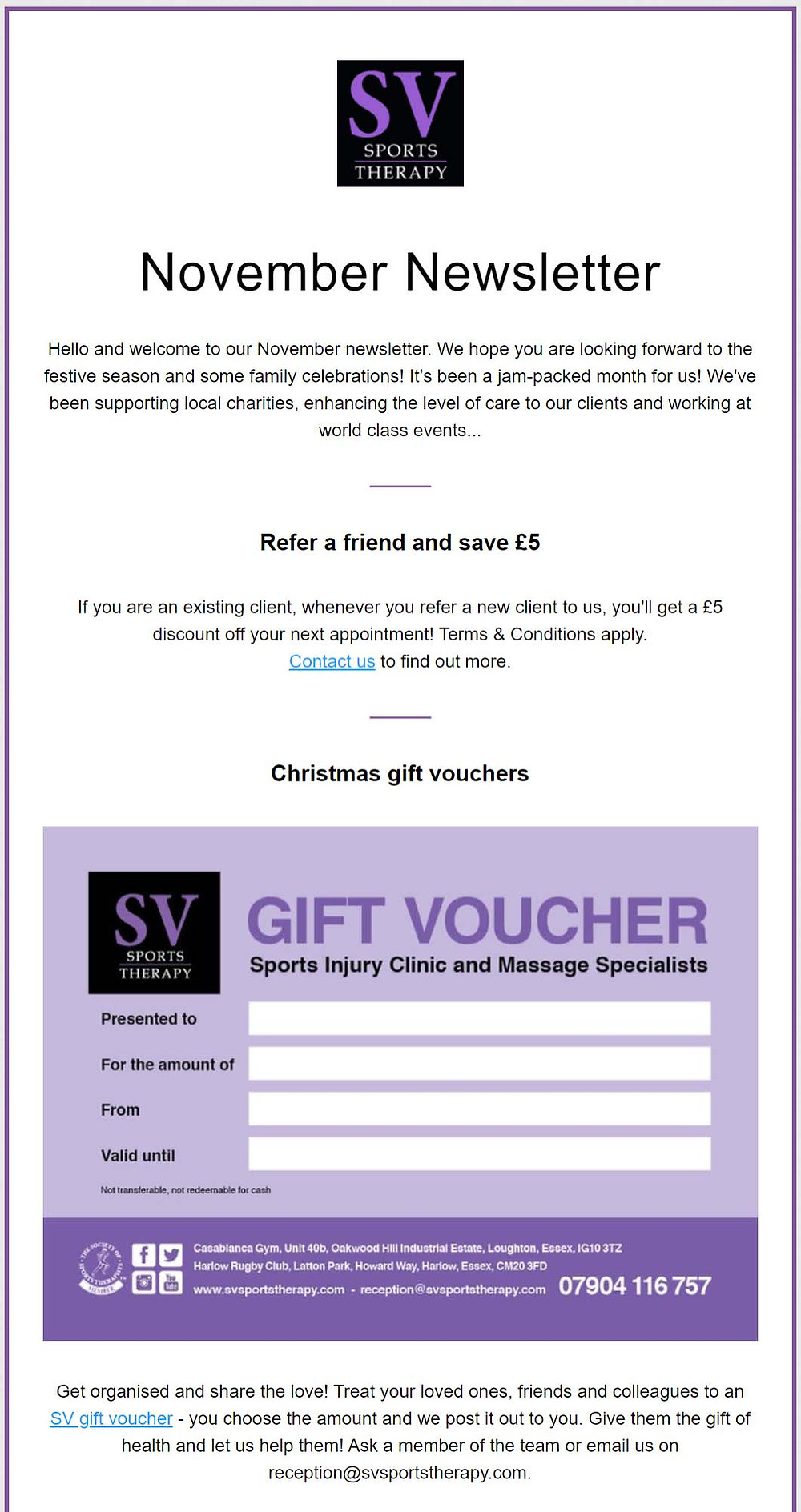 SV Sports Therapy Newsletter