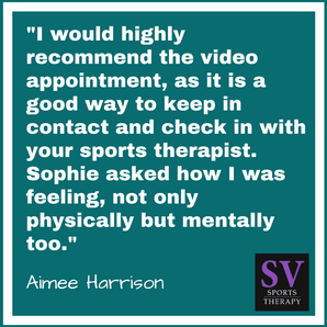 """Sophie asked how I was feeling, not only physically but mentally too."" - Aimee Harrison"