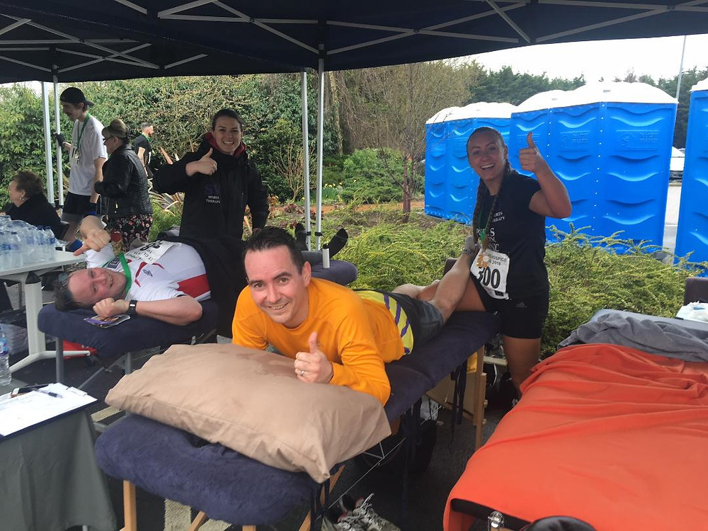 Jess and Sophie in the SV tent at St Clare Hospice 10k