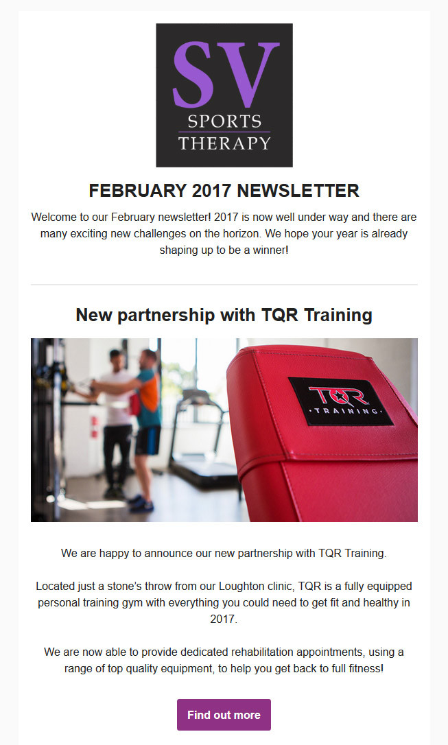 SV Sports Therapy February 2017 Newsletter