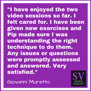 """I have enjoyed the two video sessions so far. I felt cared for."" - Giovanni Muretto"