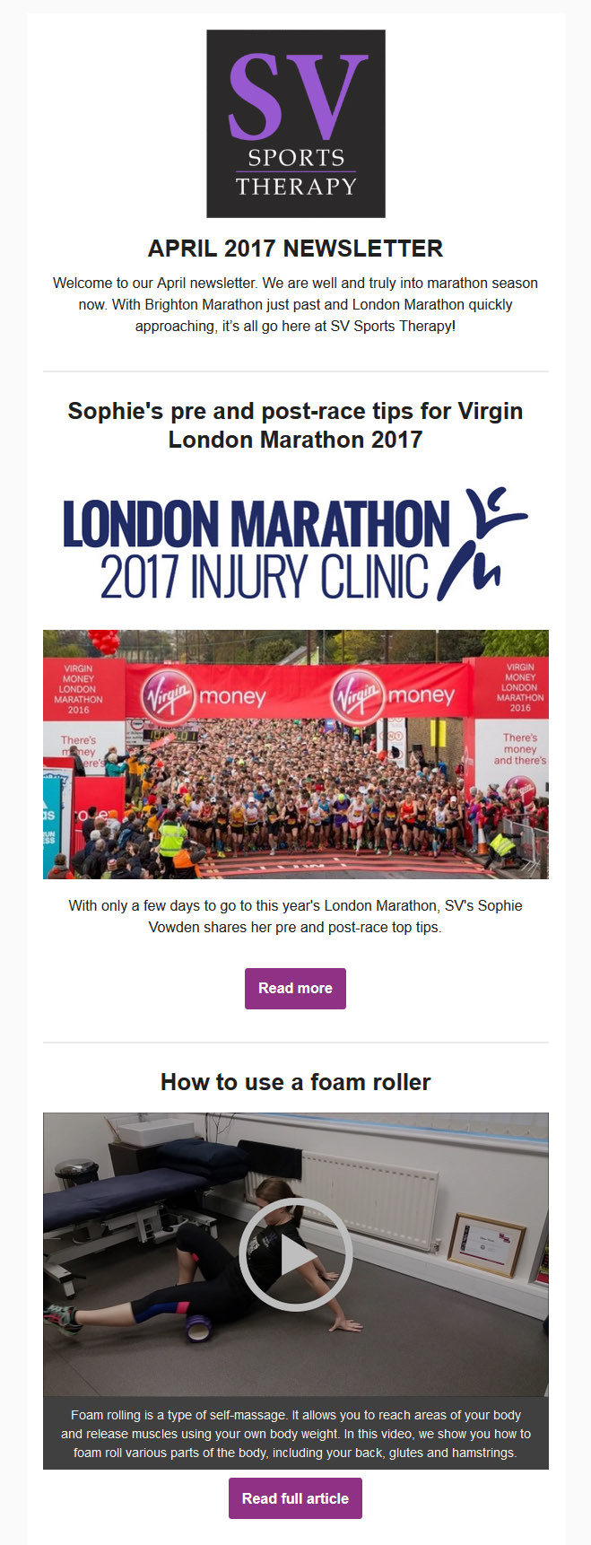 SV Sports Therapy March 2017 Newsletter
