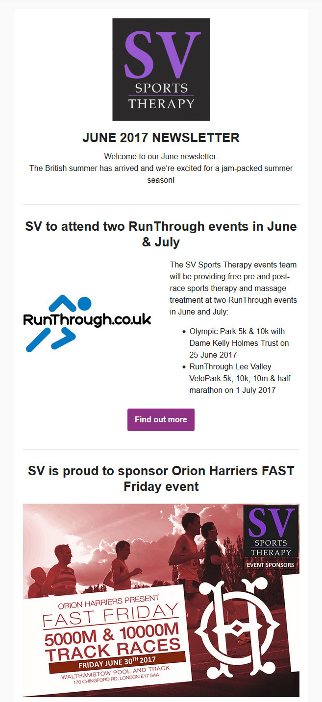 SV Sports Therapy May 2017 Newsletter