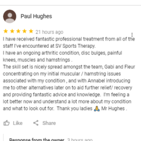 """I have received fantastic professional treatment from all of the staff at SV Sports Therapy&qu"