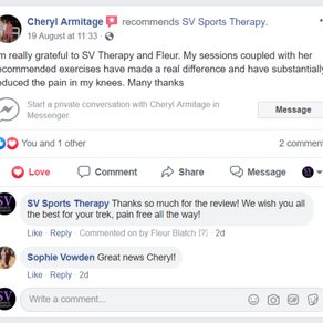"""""""I'm really grateful to SV Sports Therapy and Fleur"""" - Cheryl"""