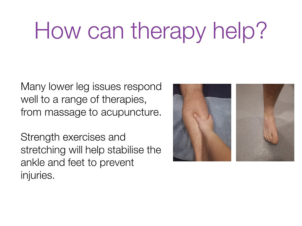 How can sports therapy help with lower leg issues?