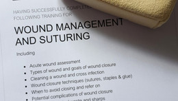 Fleur attends wound management and suturing course