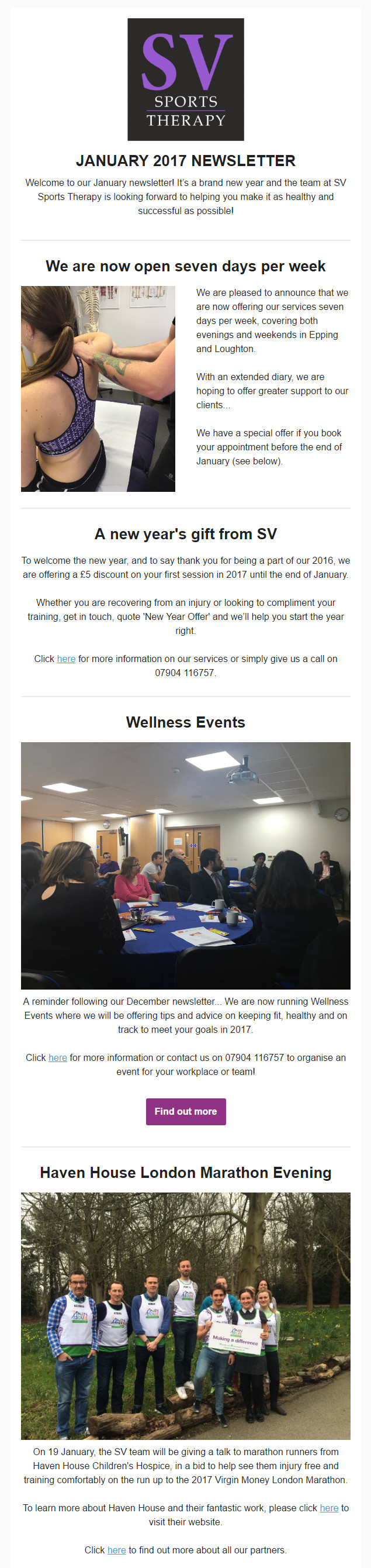 SV Sports Therapy December 2016 Newsletter
