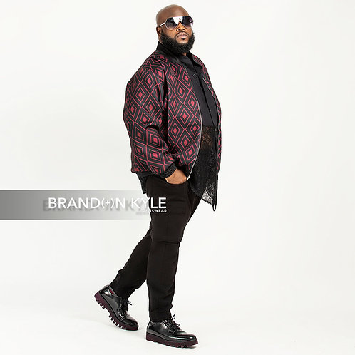 Neoprene Bomber Jacket -Burgundy