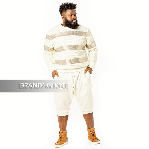 Netted Stripe Crewneck Shirt
