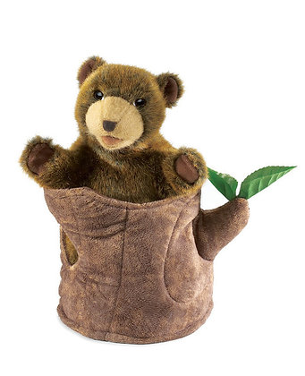 FM2904 - Bear In Tree Stump Puppet