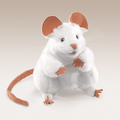 FM2219 - White Mouse Hand Puppet