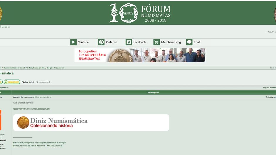 Meu blog é tema de discussão em um dos maiores Fóruns de Numismática do mundo!