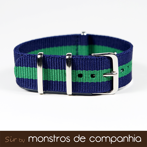 Blue and Green Striped NATO Watch Band