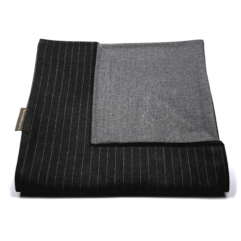 Chalk-Stripe and Plain Soft Wool Reversible Scarf (black/grey)